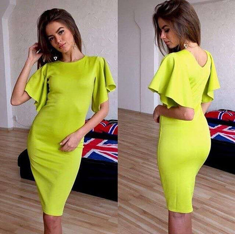 Elegant Knee-length Summer Bandage Dress With Butterfly Sleeve & O-Neck