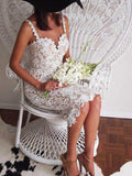 Mid Calf Lace With Spaghetti Straps Prom & Wedding Dress - Les Bijouteries - 10