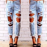Light Solid Blue Ripped Distressed Jeans - Les Bijouteries