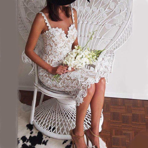 Mid Calf Lace With Spaghetti Straps Prom & Wedding Dress