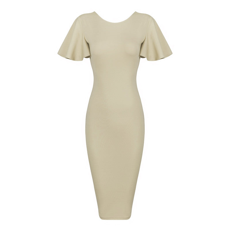 Elegant Knee-length Summer Bandage Dress With Butterfly Sleeve & O-Neck - Les Bijouteries Ladies Fashion, Online Fashion, Dresses, Dresses Online, New Trends, Party Dresses, Maxi Dresses, Club Dresses, Office Dresses, Street Style, Girls Dresses, Womens Fashion, Fashion USA, Hot Fashion, Sexy Dresses - 4