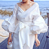 Ladies Fashion, Online Fashion, Dresses, Dresses Online, New Trends, Party Dresses, Maxi Dresses, Club Dresses, Office Dresses, Street Style, Girls Dresses, Glam Girl Puff Sleeve V Neck Wrap Tie Blouse - Les Bijouteries