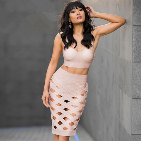 Open Crossover Laced 2 Piece Bandage Dress