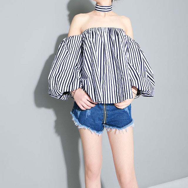 Lucky Stripes Slash off the Shoulder With Chocker - Les Bijouteries - 2