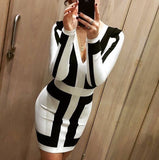 Plunging V Neck White & Black  Patchwork Bandage Dress - Les Bijouteries