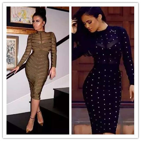 Long Sleeve Studded Embellished Bandage Dress