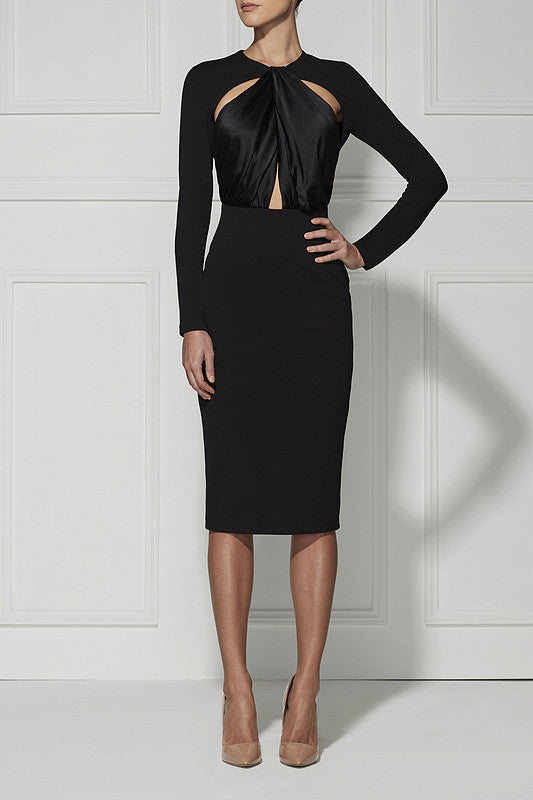 Long Sleeve Keyhole Cutout Evening Bandage Dress - Les Bijouteries