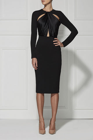 Long Sleeve Keyhole Cutout Evening Bandage Dress