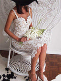Mid Calf Lace With Spaghetti Straps Prom & Wedding Dress - Les Bijouteries - 9