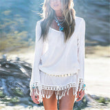 Bohemian Long Sleeve Chiffon Lace Tassel Mini - Les Bijouteries - 14