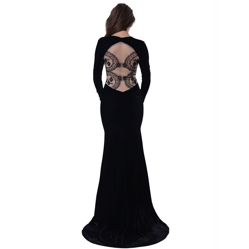 Lace See Through Back Black Elegant Maxi Party Dress With Train - Les Bijouteries