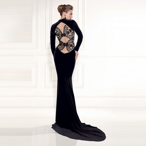 Lace See Through Back Black Elegant Maxi Party Dress With Train
