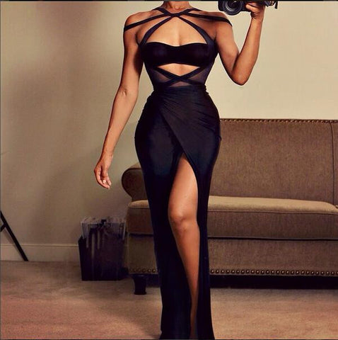 Black Halter Cut Out Maxi Bodycon Dress