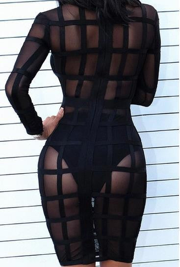 See Through Nude Stripes Mesh Long Sleeve Bandage Dress - Les Bijouteries - 16