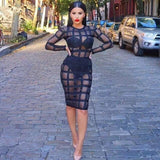 See Through Nude Stripes Mesh Long Sleeve Bandage Dress - Les Bijouteries