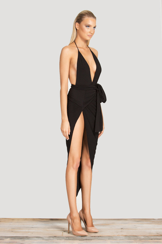 Spaghetti Strap Halter  With Deep V Neck With Side Exposed Thigh Slit Bodycon Mid Calf - Les Bijouteries Ladies Fashion, Online Fashion, Dresses, Dresses Online, New Trends, Party Dresses, Maxi Dresses, Club Dresses, Office Dresses, Street Style, Girls Dresses