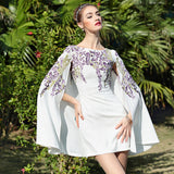 Mini Floral Embroidery Cape Style Cape Sleeves Faux Two Piece Dresses - Les Bijouteries Ladies Fashion, Online Fashion, Dresses, Dresses Online, New Trends, Party Dresses, Maxi Dresses, Club Dresses, Office Dresses, Street Style, Girls Dresses, Womens Fashion, Fashion USA, Hot Fashion, Sexy Dresses - 1