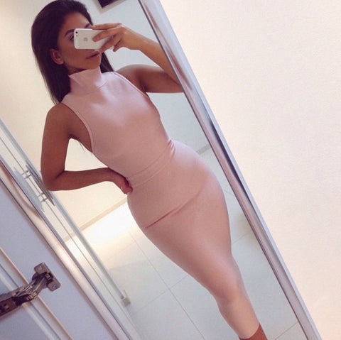 Turtleneck Seeveless Mid-Calf Bandage Dress