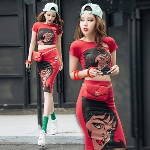 Comic Pencil Skirt Set With Crop Top