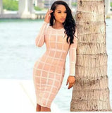 See Through Nude Stripes Mesh Long Sleeve Bandage Dress - Les Bijouteries - 12
