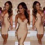 Celebrity Inspired V-neck Sling Over Knee Bandage Dress - Les Bijouteries Ladies Fashion, Online Fashion, Dresses, Dresses Online, New Trends, Party Dresses, Maxi Dresses, Club Dresses, Office Dresses, Street Style, Girls Dresses, Womens Fashion, Fashion USA, Hot Fashion, Sexy Dresses - 1