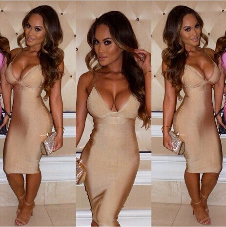 Celebrity Inspired V-neck Sling Over Knee Bandage Dress
