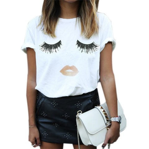 Lashes &  Lips Print T Shirt Loose Fitting T-Shirt