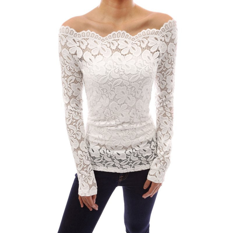 Off Shoulder Slash Neck Lace Crochet Shirts With Long Sleeve Slim Slim Fit - Les Bijouteries - 8
