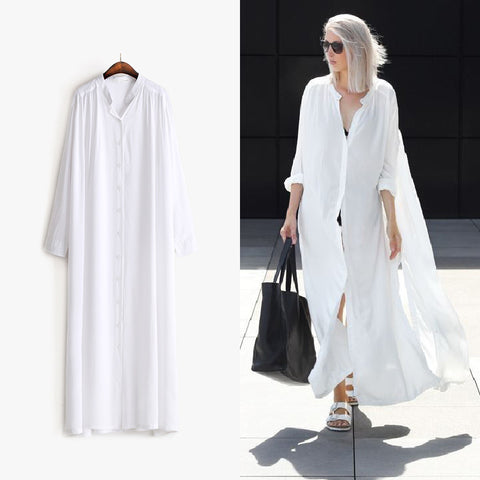 Airy Long Sleeve Cotton Button Slit Shirt Dress