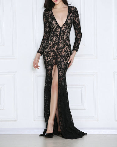 Stardom Red Carpet Sheer Lace Inspiration Dress
