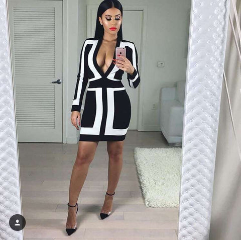 Plunging V Neck White & Black  Patchwork Bandage Dress