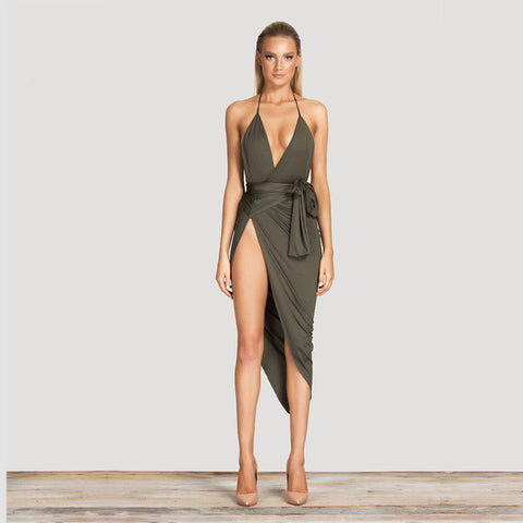 Spaghetti Strap Halter  With Deep V Neck With Side Exposed Thigh Slit Bodycon Mid Calf