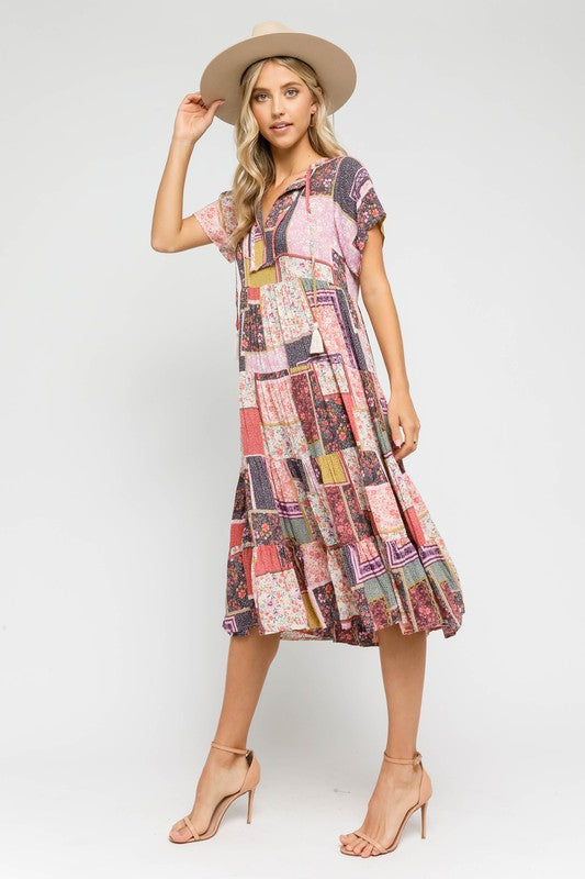 Pink Patchwork Boho Midi Dress
