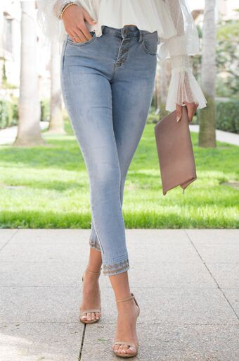 Blush Boutique - Button Fly Embroidered Skinnies