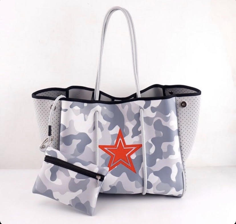 Grey Camo with Red Star Fancy Neoprene Tote