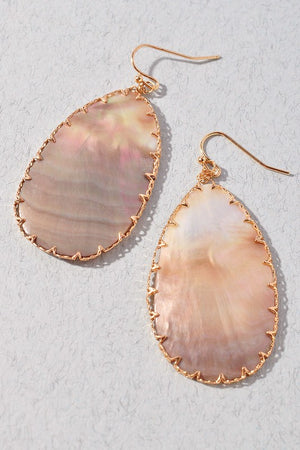 Blush Boutique - Gold Trim Teardrop Shell Earrings