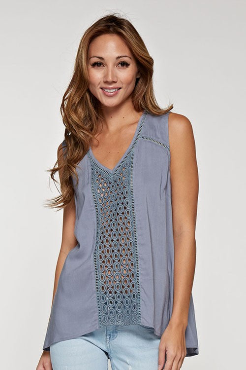 Blush Boutique - Lace Insert Sleeveless Top