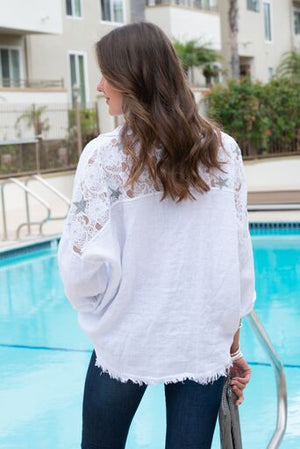 Blush Boutique - Long Sleeve Linen Button Down Blouse