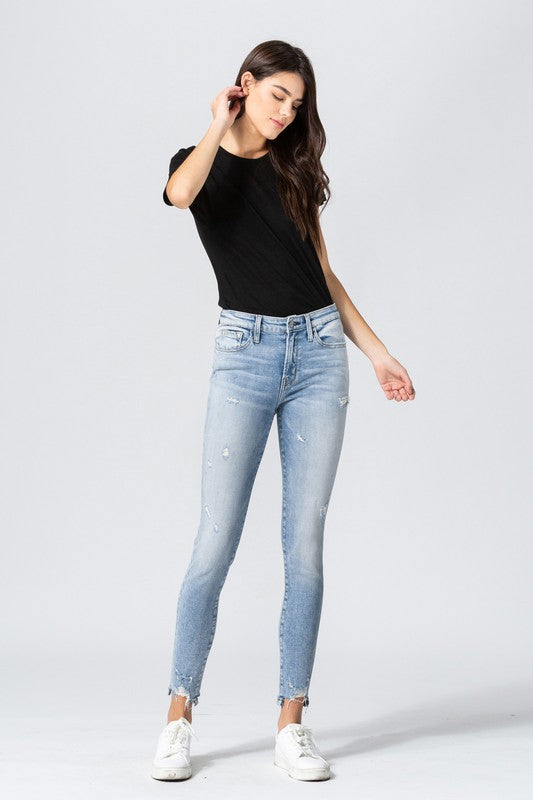 Blush Boutique - Mid-Rise Distressed Hem Crop Skinny