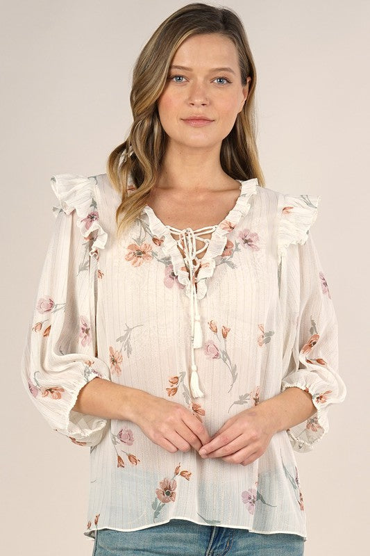 Blush Boutique - Sheer Floral Printed Top