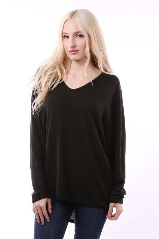 Blush Boutique - Solid Longsleeve Vneck Sweater Top
