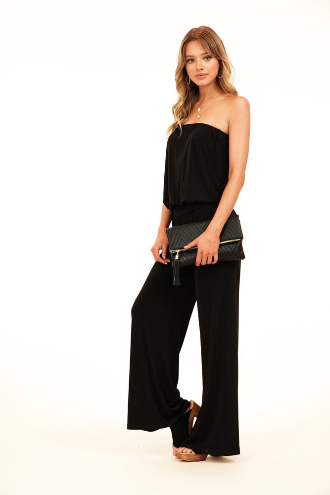 Veronica M Black Strapless Dropwaist Jumpsuit