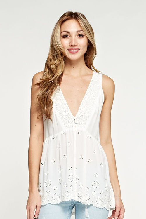 Blush Boutique - Vneck Eyelet Embroidered Top