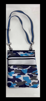 Blue Camo Neoprene Crossbody Bag