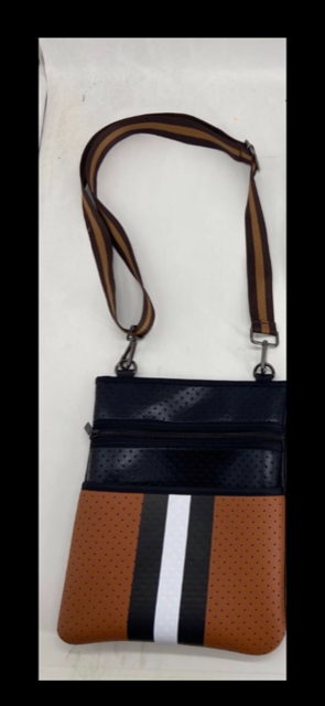 Black & Camel Neoprene Crossbody Bag