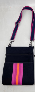 Black with Neon Accent Neoprene Crossbody Bag