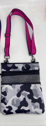 Grey Camo with Pink Accent Neoprene Crossbody Bag