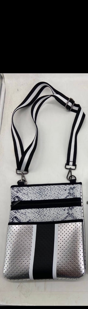 Silver & Snakeprint Neoprene Crossbody Bag