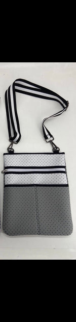 Grey & White Neoprene Crossbody Bag