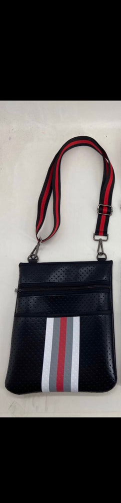 Black with Red Accent Neoprene Crossbody Bag
